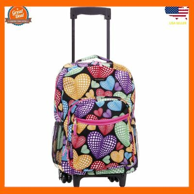 Backpack With Wheels For Girls Rolling School Travel Bag Kid Wheeled Luggage...