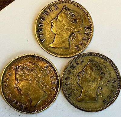 Lot Of 3 -Silver 5 Cent Pieces -Straits Settlements -(1898/1902)- Queen Victoria