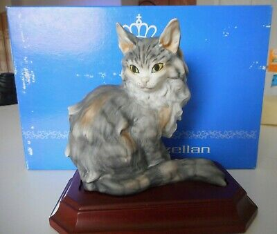 Kaiser Bisque Porcelain Cat on Wood Base Hand painted