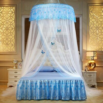 Mosquito Netting Canopy Bed Curtain Hanging Round Lace Dome Insect Protection