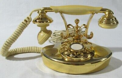 Vintage Small Size Rotary Dial Telephone French Princess Style Gold Cream Japan
