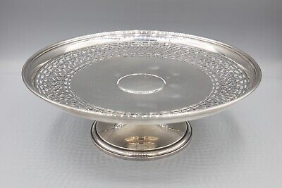 Tiffany & Co Sterling Silver Cake Stand, Compote Centerpiece, Pierced Rim 8 1/4""