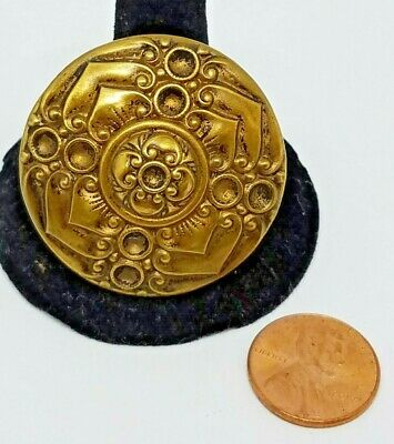 """Antique Vintage Brass Picture Button Lotus Flower/ Blossom Extra Large 1 9/16"""""""