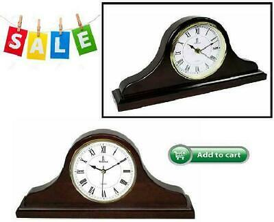 Vintage Clock Silent Decorative Wood Mantle Clock Battery Operated Wooden Design