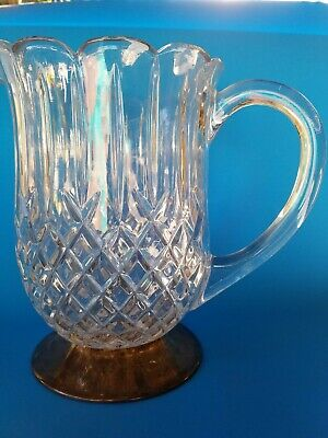 """Lead  Crystal Star & Pinwheel Pitcher Cross- Hatching Silver plate Footed 8+"""""""