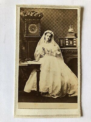 CDV Photo Beautiful Bride Lady Wedding Clock Mantle New York 1860s Antique