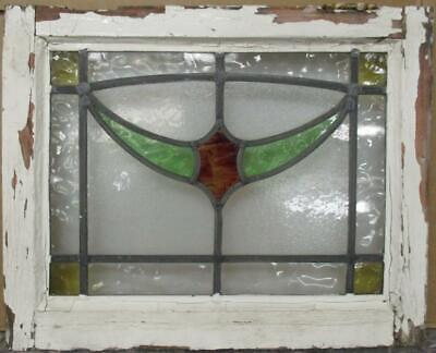 "OLD ENGLISH LEADED STAINED GLASS WINDOW Stunning Swag Design 20.75"" x 16.75"""