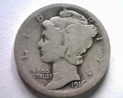 1916 MERCURY DIME GOOD G NICE ORIGINAL COIN FROM SILVER EAGLE INC. FAST 99c SHIP