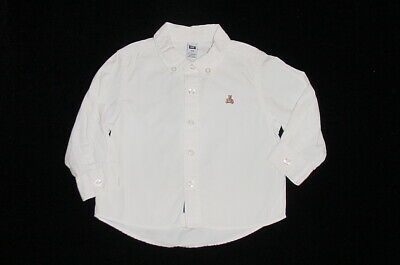 EUC Baby GAP Outlet Boys Solid White Button Down Dress Shirt 18-24 M