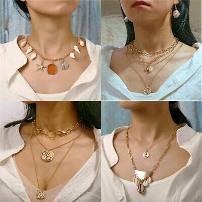 Fashion Simple Double Layers Chain Seal Pendant Necklace Choker Women Jewelry
