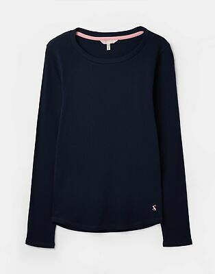 Joules 207373 Ribbed Henley Top in FRENCH NAVY