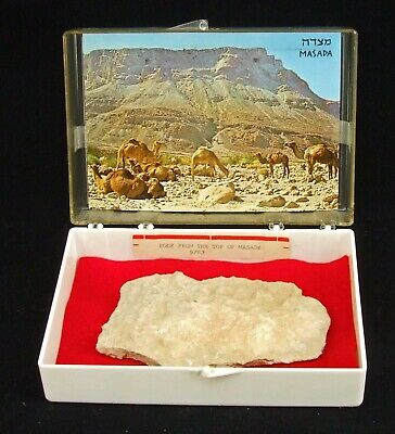 Genuine Rock from Atop Holy Mount Masada Israel with Documenting Post Card 1983
