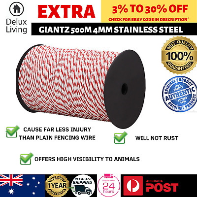 Giantz 500m 4mm Stainless Steel Rope Polywire Poly Tape Electric Fence White Red