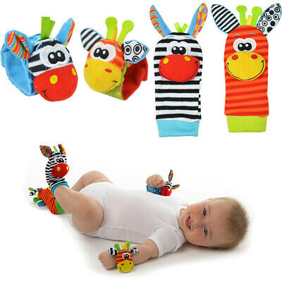 Soft Rattle Set Baby Sensory Toys Foot-Finder Socks Wrist Rattle Bracelet Gift