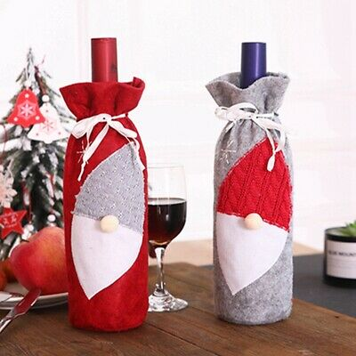 Christmas New Year Wine Bottle Cover Bags Xmas Decoration Kitchen Party Gift LG