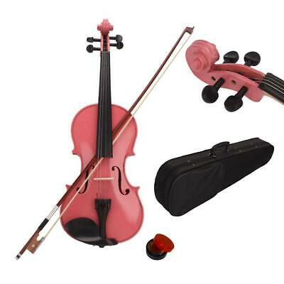 4/4 Size Students Acoustic Violin Fiddle with Case Bridge Bow Rosin Pink