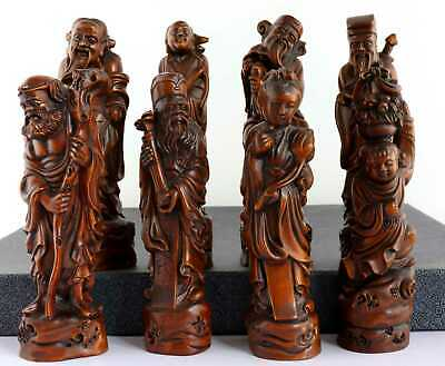 Collect Old Boxwood Hand-Carved Exorcism Eight Immortals Crossing The Sea Statue