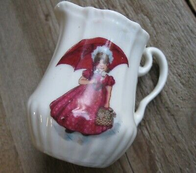 Antique Early 1900's Children's Doll Pitcher Victorian Girl Umbrella Toy