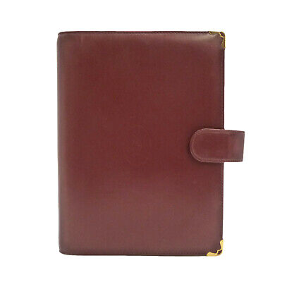 Authentic Cartier Must De Agenda Day Planner Cover Bordeaux Leather #S161490