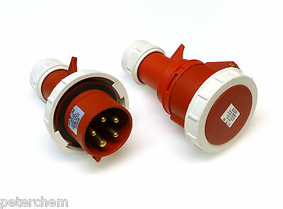 32 amp 5 pin waterproof IP67 plug & coupler socket 415V 32A 3P+N+E red FAST FIT