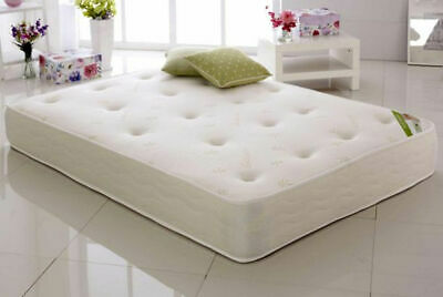 Memory Foam Spring Mattress Quilted Brand New white 3FT,4FT,4FT6 ,5FT, UK MADE