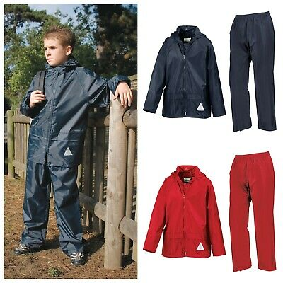 Child Packaway Waterproof Rain Suit Rainsuit Bag Jacket Trouser Set Kid Boy Girl