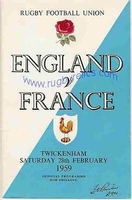 England v France 28 Feb 1959 at Twickenham RUGBY PROGRAMME