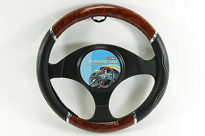 Wooden Steering Wheel Cover Luxury Wood Effect Universal Fit Glove