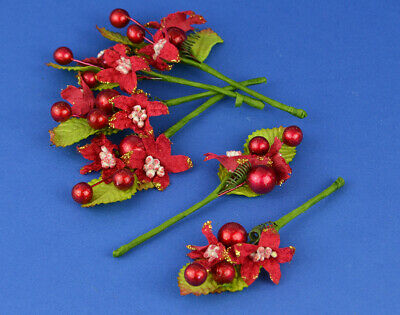 12 Poinsettia and Berries - Picks for Christmas Floristry