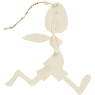 Hanging Wooden Easter Bunny Rabbit with Egg to Decorate - 18cm