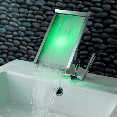 LED Waterfall Wide Spout Polished Chrome Bathroom Sink Faucet Slanted Basin Tap