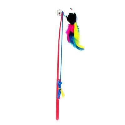 H3E# Cat Feather Mouse Stick Toy Funny Kitten Playing Rods Pet Interactive Toys