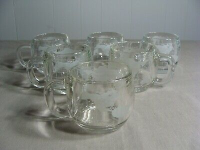 6 Nestle/Nescafe Clear Glass Cups With Etched World Pattern