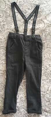 Next Boys Grey Chino Style Smart Trousers With Braces, Size 1.5-2 Years