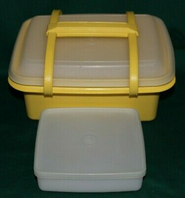 Tupperware Pack N Carry Ice Cream Keeper or Lunch Box & Square A Way Sandwich