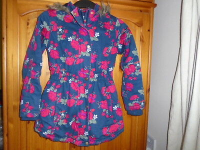 Navy blue and red floral padded jacket, hood, faux fur trim, PRIMARK, 9-10 years