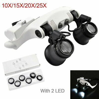 Magnifying Glasses 8Lens LED Light Headband Magnifier Jewelry Watch Repair Loupe