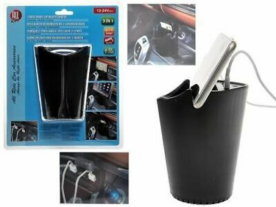 Car Truck Cup Holder Charger Power Adapter Cigarette Lighter