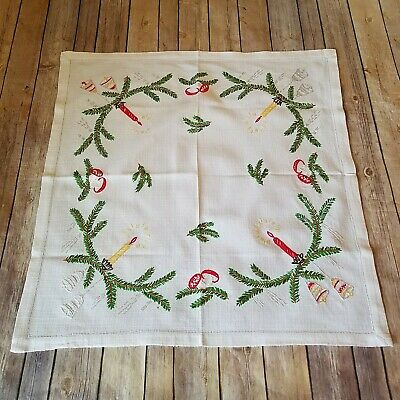 Table Topper Dresser Scarf Vtg Embroidered Wall Hanging Christmas Candles Bells