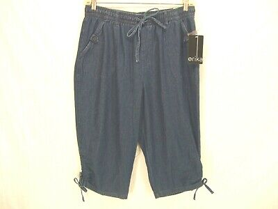 """Erika Blue """"Carly"""" Pull On Drawstring Cropped Capris Pants Womens Size Large #"""
