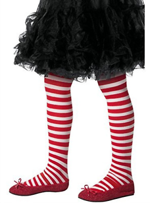 Striped Tights, Childs, Red & White -  (Size: Medium/Large Age 8-12 COST-ACC NEU