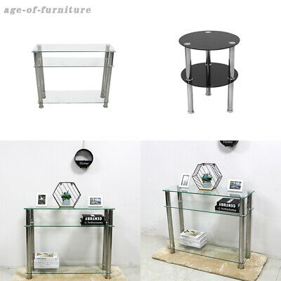 2 Tier Glass Console Table With Chrome Legs Hall Side End Table Coffee Table-uk