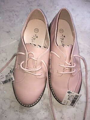 Girls NEXT Patent Pink Shoes Size 11 New Tags Brogues Flats