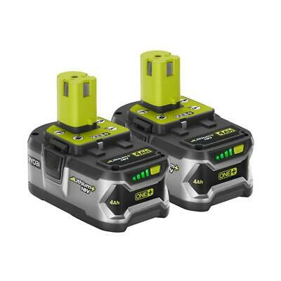 TWO NEW RYOBI P108 18V 4.0Ah BATTERIES - ONE+ LITHIUM-ION HIGH CAPACITY W/LEDS