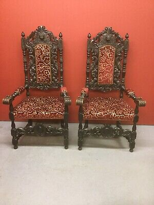 Antique Pair Of Highly Carved Oak Throne / Open Armchairs Sn-888a