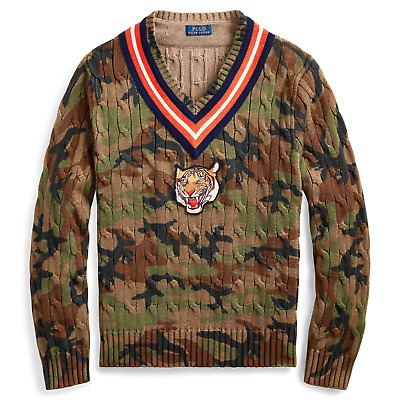 Polo Ralph Lauren Vintage Camo V Neck Tiger Patch Cable Knit Cricket Sweater NWT