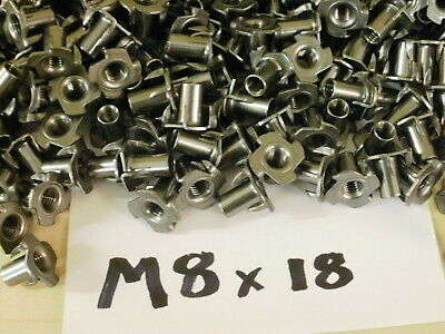 M8 x 18mm or M8 x 11mm .. 4 PRONGED CAPTIVE TEE NUT WOOD FURNITURE T NUTS . s/c