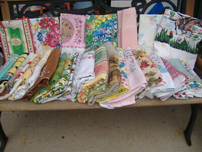Lot Of 29 Vtg Tablecloths Floral Horse Retro Holiday Fruit Rooster Plaids 2 New