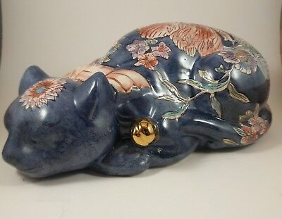 """Vintage porcelain Chinese hand painted lucky sleeping cat figurine 10"""""""