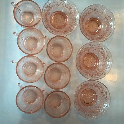 Pink Depression Glass Flower Embossed Heavy Cups Bowls Vintage Indiana Glass